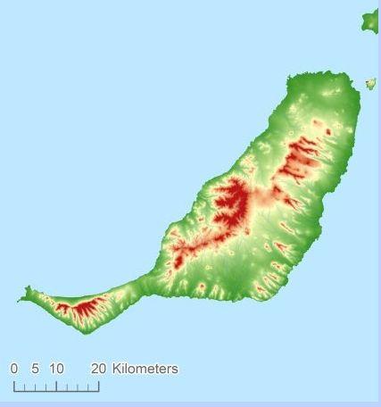 Fuerteventura hoogtekaart